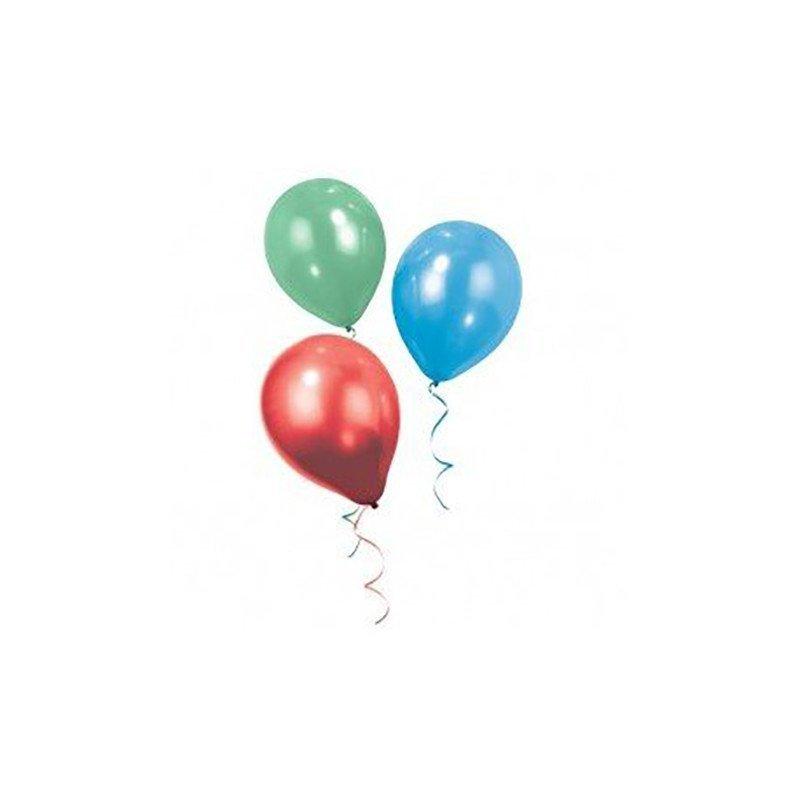 Ballons Belle & Boo tricolores bleu, vert et rouge (x12)