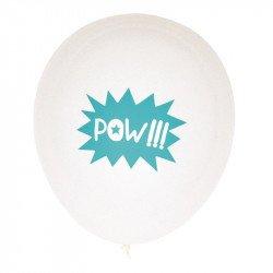 Ballons Super héros POW (x5) - Bleu