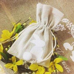 4 pochons lin lapin blanc avec son pompon