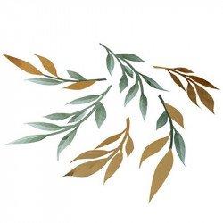 Déco feuilles vertes & dorées (x6)