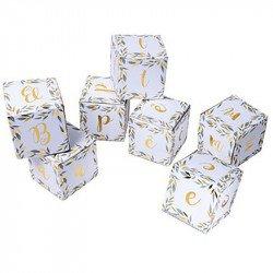 """7 Cubes déco feuillage """"Baptême"""""""