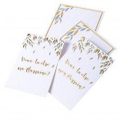 """Cartes et enveloppes  """" parrain / ma marraine"""" (x2)"""