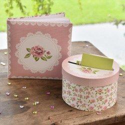 Urne / Tirelire Rose Vintage Fleurs