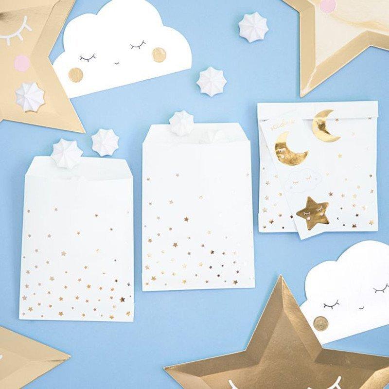 6 Pochettes motifs étoiles dorées