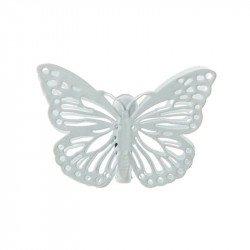 4 pinces papillon blanches