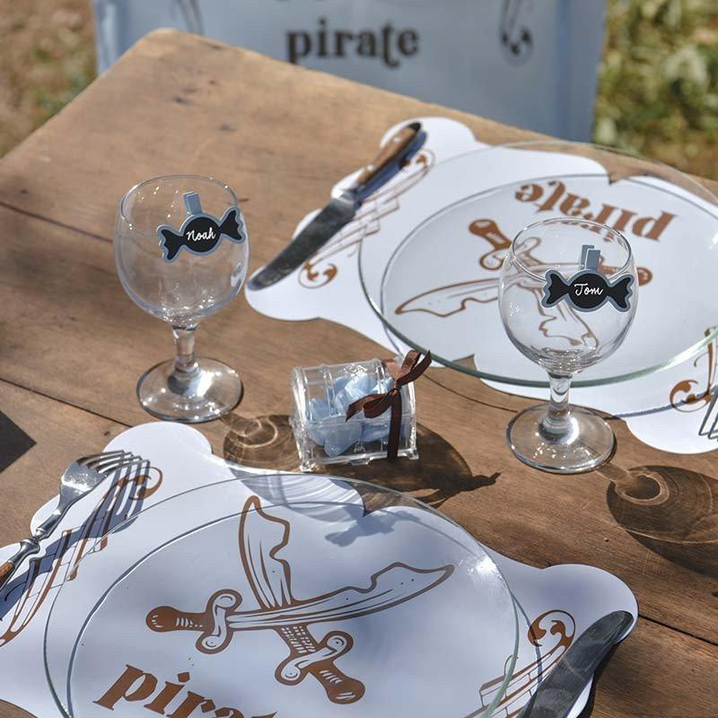 Dessous de table pirate bleu -6 pièces