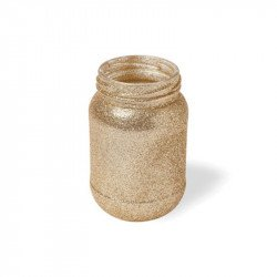 Vase à paillettes dorées