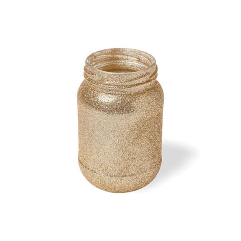 Vase / photophore en verre à paillettes dorées