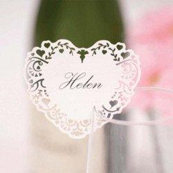 10 Marque-places coeur pour verre