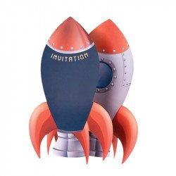 Invitations fusée astronaute inscriptions (x8)