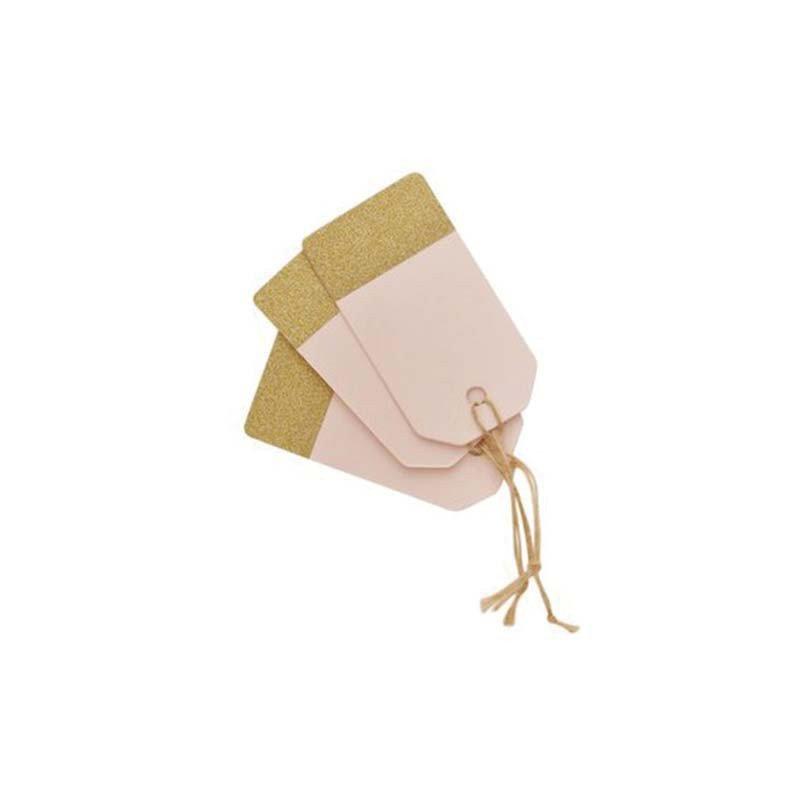 Etiquette glitter rose pâle (x10)
