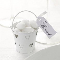 Petits pots en zinc cœur (x5) - Blanc