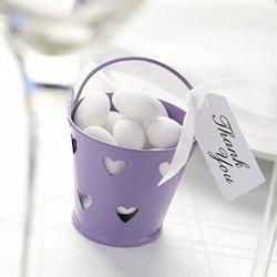 Petits pots en zinc cœur (x5) - Lilas