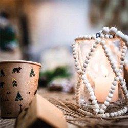 "Photophore ""Bali"" en verre & perles en bois"