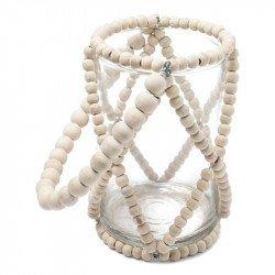 """Photophore """"Bali"""" en verre & perles ivoires"""