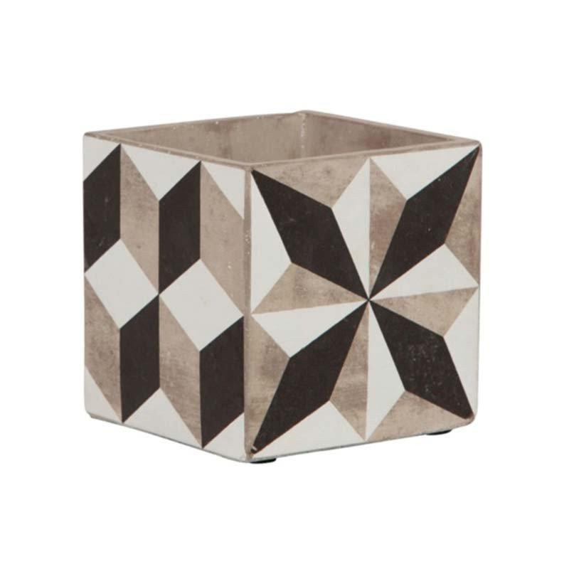 Pot à plantes forme géométrique motif carreaux de ciment