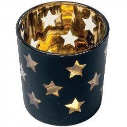 Photophore étoilé noir et doré -1 unité