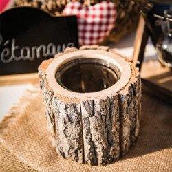 Bougeoir/vase rondin de bois -1 pièce