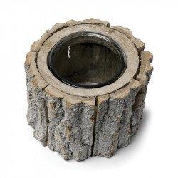 Bougeoir vase rondin de bois