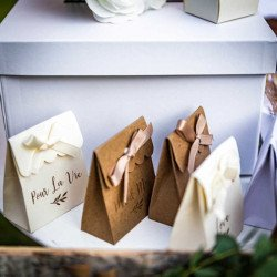 10 Boîtes à dragées et ruban satin