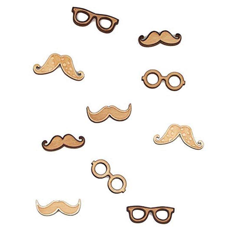 Moustaches et lunettes adhésifs en bois (x10)