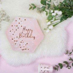 "8 Assiettes ""Happy Birthday"" Confettis Rose Gold"