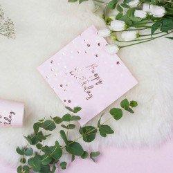 "16 Serviettes ""Happy Birthday"" Confettis Rose Gold"