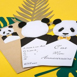 8 Invitations Panda & 8 Enveloppes Kraft