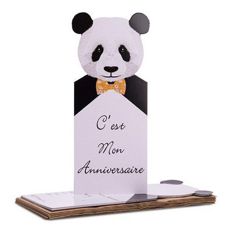 8 invitations PANDA & 8 enveloppes Kraft