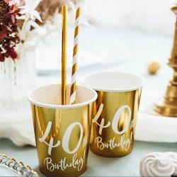 """6 Gobelets dorés """"40 ans"""""""