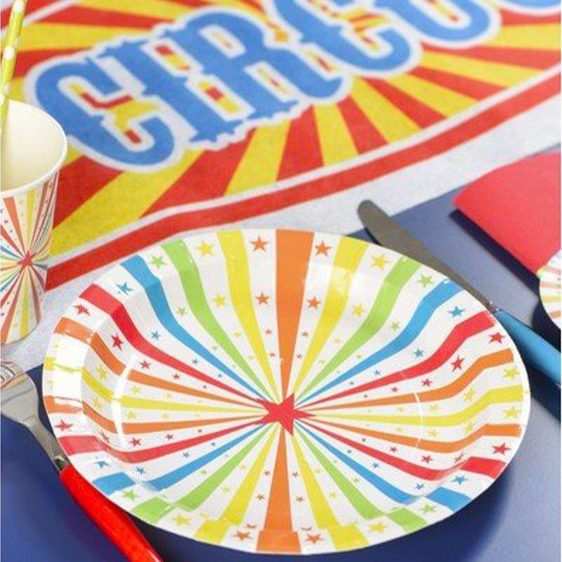 Assiettes cirque multicolore - 10 pièces