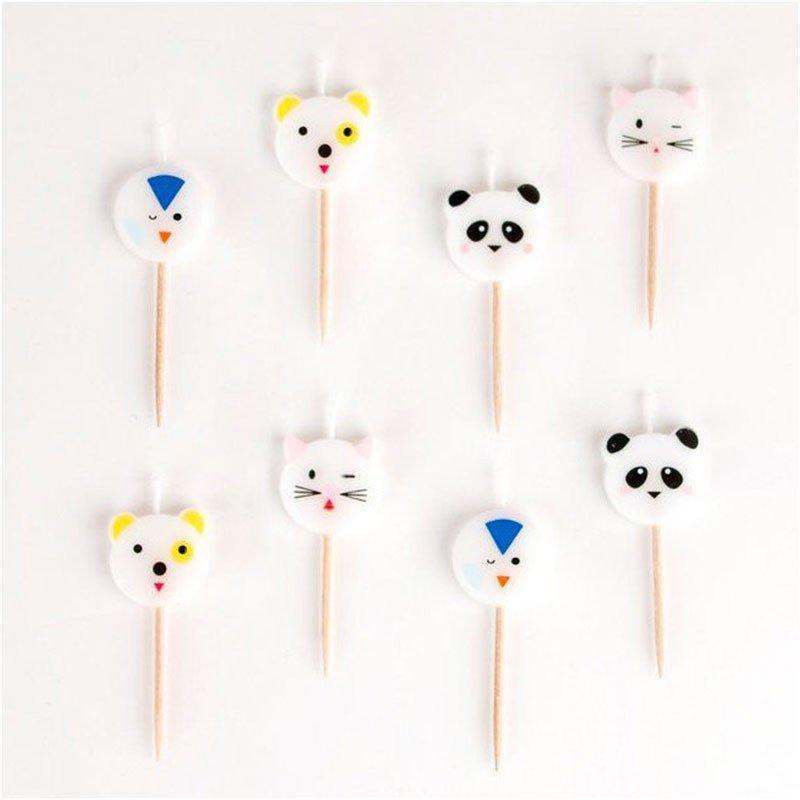 Bougies mini animaux - 8 pièces