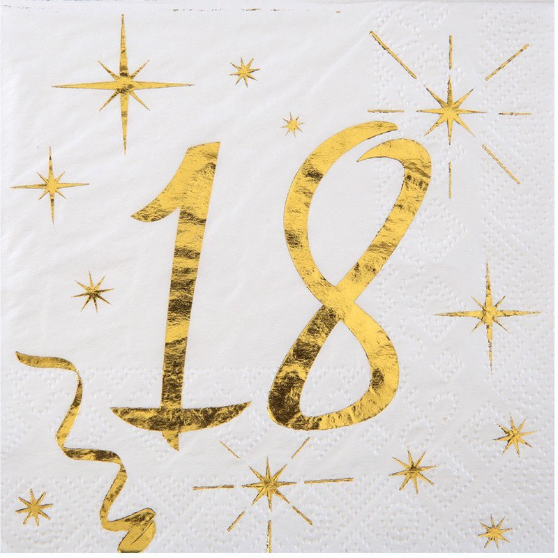 20 Serviettes papier blanche et dorée 18 ans