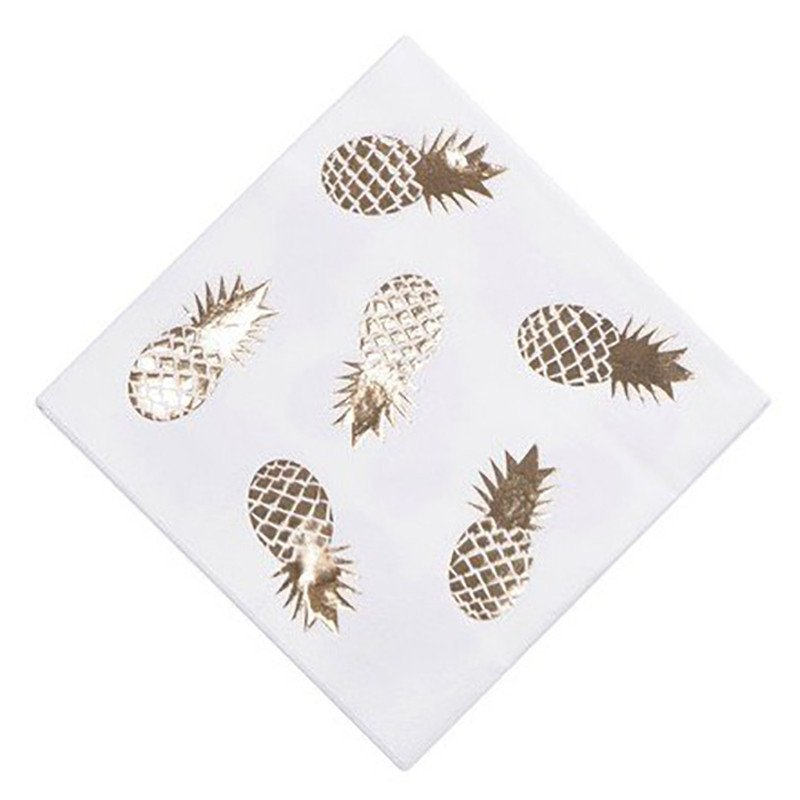 "Lot 16 Serviettes ""Ananas Or"""