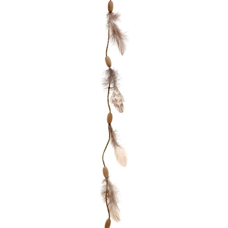 Guirlande plumes perles bois
